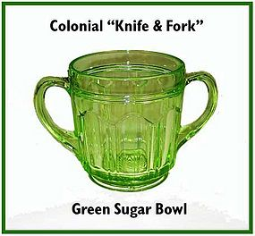 Hocking Colonial Knife & Fork Green Sugar Bowl
