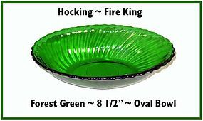"Hocking Fire King Forest Green 8 1/2"" Oval Bowl"