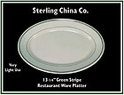 "Restaurant Ware 13"" Green Stripe Oval Platter"