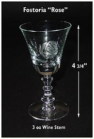 "Fostoria ""Rose"" Cutting No 827-4 3/4""~3 oz Wine Goblet"