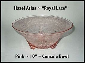 "Hazel Atlas Royal Lace Pink 10"" Console Bowl"