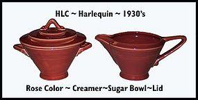 HLC Harlequin Original Rose Color Creamer�Sugar�Lid�