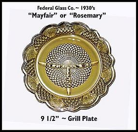 "Mayfair or Rosemary ""Dutch Rose"" Grill Plate"