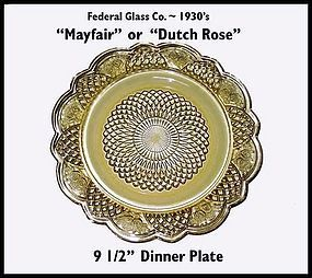 "Mayfair or Rosemary ""Dutch Rose"" Dinner Plate"
