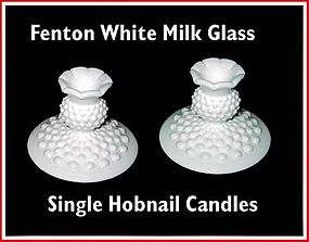 Fenton White Milk Glass Hobnail Single Candles