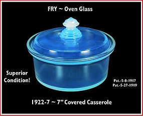 "Fry Oven Glass 1922-7""  Round Covered Baker/Casserole"