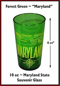 Hocking Forest Green State of Maryland Souvenir Glass