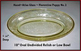 "Hazel Atlas Florentine 2 10"" Undivided Relish Dish"
