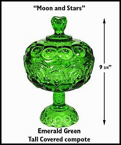 Moon and Stars Emerald Green Tall Covered Compote