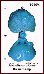 Southern Belle Blue Dresser Lamp With Glass Shade