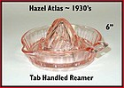 Hazel Atlas Pink Tab Handled Reamer 1930's