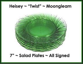 "Heisey ""Twist"" Moongleam 7"" Luncheon/Salad Plates"