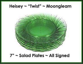 "Heisey ""Twist"" Moongleam 7"" Luncheon/Salad Plates"