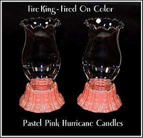 Fire King Fired On Pastel Color Hurricane Candles Pair
