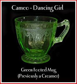 "Cameo ""Dancing Girl"" Green Footed Mug/Creamer"