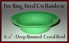 Fire King Fired On Rainbow Green Rimmed Deep Bowl