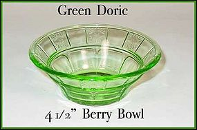 Jeannette Glass Green Doric Small Berry Bowl
