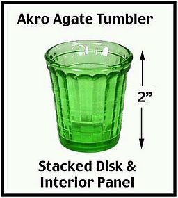 Akro Agate Stacked Disk Int Panel Green Tumbler