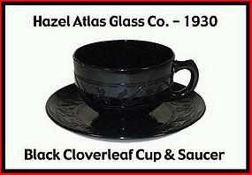 Hazel Atlas Black Cloverleaf Coffee Cup and Saucer