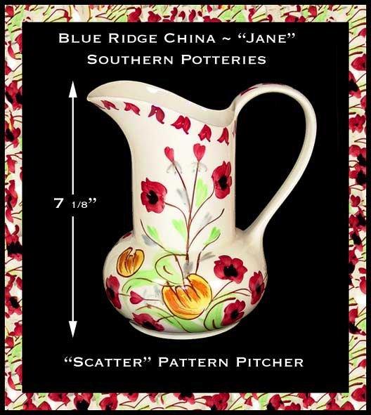 """Blue Ridge China ~ Southern Potteries ~ """"Jane"""" Pitcher"""