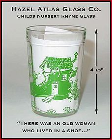 Hazel Atlas 1940's Childrens Dec Nursery Rhyme Glass