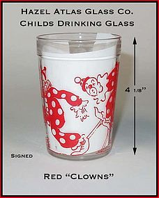 Hazel Atlas 1940's Childrens Dec Clowns Glass