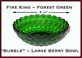 "Fire King Forest Green ""Bubble"" Large Berry Bowl"