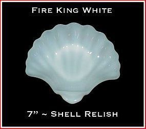 Fire King White 7 inch Shell Relish Dish