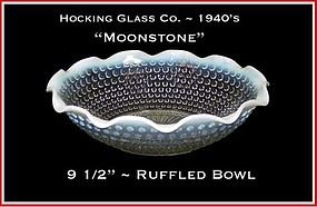 Hocking Moonstone Large Crimped/Ruffled Bowl