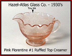Hazel Atlas Pink Florentine I Ruffled Top Creamer