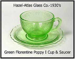Hazel-Atlas Florentine #1 Green Cup & Saucer