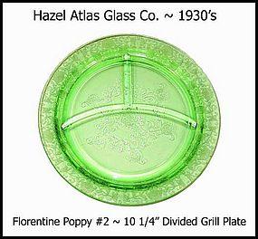 """Hazel Atlas Green Florentine 2 ~ 10 1/4"""" Grill Plate"""