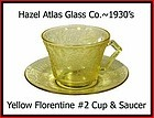 Hazel Atlas  Yellow Florentine #2 Cup and Saucer