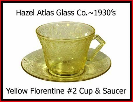 Hazel Atlas  Yellow Florentine #2 Cup and Saucer