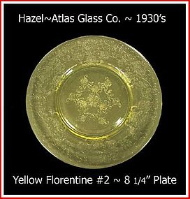 "Hazel Atlas  Yellow Florentine #2 ~ 8 1/2"" Salad Plate"