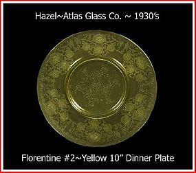 "Hazel Atlas  Yellow Florentine #2 Lg 10"" Dinner Plate"