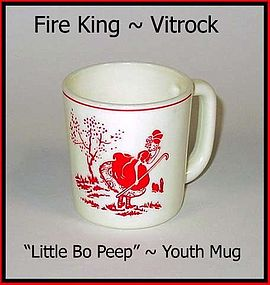 "Fire King Vitrock ""Little Bo Peep"" Childs Mug ~ Red"