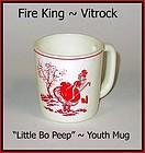 """Fire King Vitrock """"Little Bo Peep"""" Childs Mug ~ Red"""