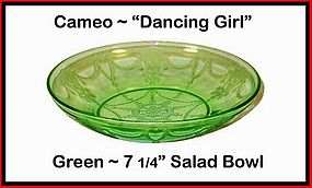 "Hocking Cameo Dancing Girl Green 7 1/4"" Salad Bowl"