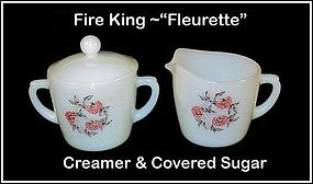 "Hocking Fire King ""Fleurette"" Creamer Sugar & Lid"
