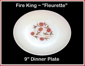 "Fire King Fleurette 9"" Dinner Plate"