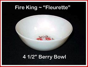 "Fire King Fleurette 4 1/2"" Berry Bowl"