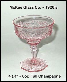 McKee Glass Co. ~ Rock Crystal Pink Champagne/Sherbert