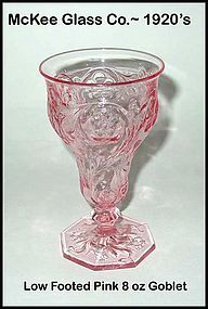 McKee Glass Co. ~ Rock Crystal 8oz Pink Low Goblet