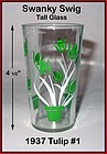 Kraft Swanky Swig Tall 1937 Green Tulips #1 Rare Size