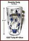 Kraft Swanky Swig Tall 1937 Blue Tulips #1 Rare Size