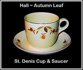 Hall Autumn Leaf St. Denis Cup and Saucer