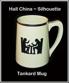 Hall China Taverne Silhouette Unusual Tankard Mug~Nice!
