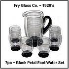 Fry Glass ~ Black Petal Foot 7pc Water Water Set
