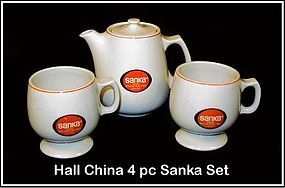 Hall China 3pc Sanka Coffee Set�Pot�2 Ftd Mugs